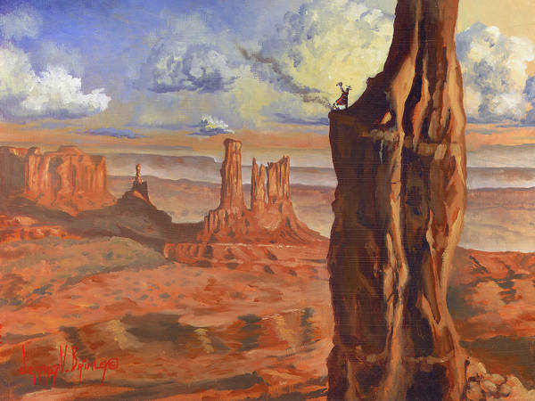 Navaho Poster featuring the painting Top Of The Mountains by Jeff Brimley