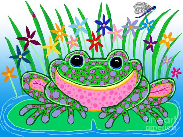 Frog Art Poster featuring the drawing Very Happy Spotted Frog by Nick Gustafson