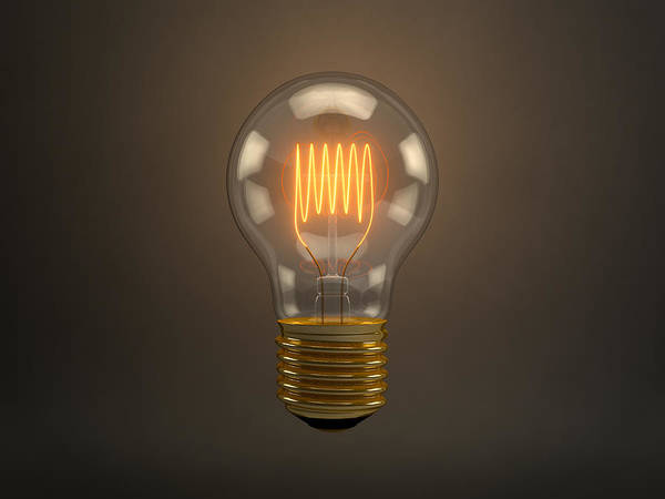 Lightbulb Poster featuring the digital art Vintage Light Bulb by Scott Norris