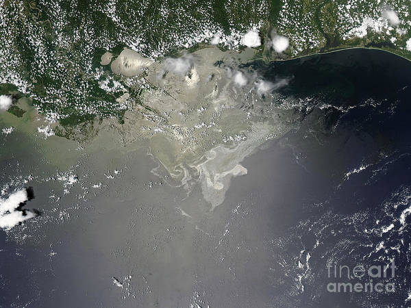 Usa Poster featuring the photograph Oil Slick In The Gulf Of Mexico by Stocktrek Images