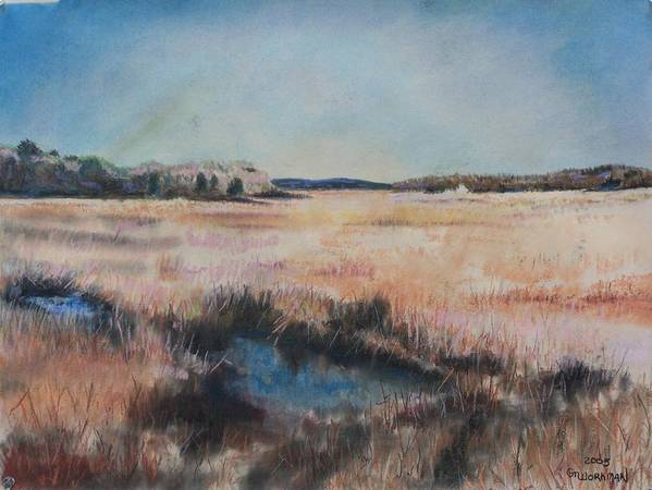 Landscape Poster featuring the pastel Cape Cod Marsh by Geoffrey Workman