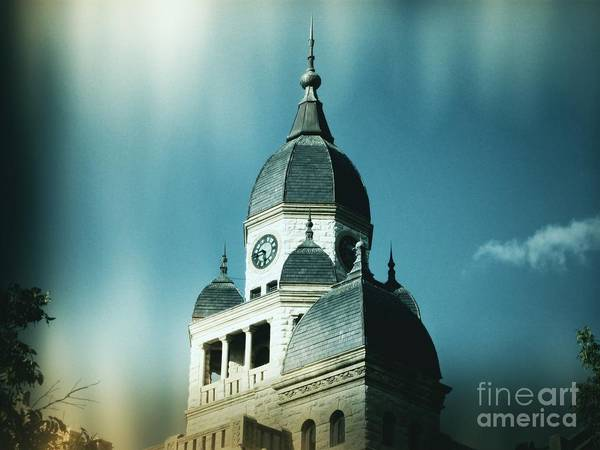 Denton Poster featuring the photograph Denton County Courthouse by Angela Wright