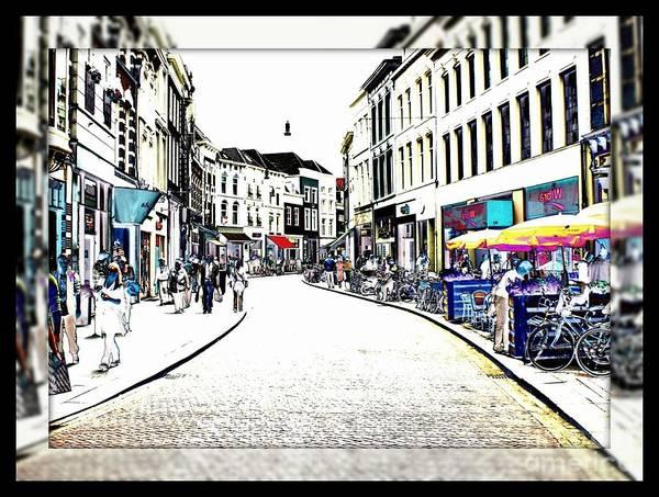 Dutch Poster featuring the photograph Dutch Shopping Street- Digital Art by Carol Groenen