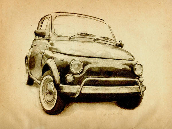 Fiat 500 Poster featuring the drawing Fiat 500l 1969 by Michael Tompsett