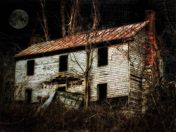 Old House Poster featuring the photograph Haunted House On The Hill by Kathy Jennings