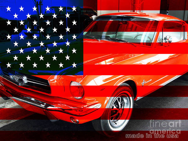 Transportation Poster featuring the photograph Made In The Usa . Ford Mustang by Wingsdomain Art and Photography