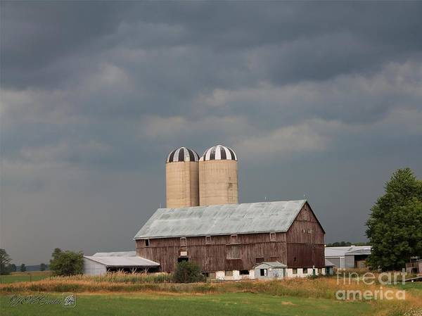 Dark Poster featuring the photograph Ominous Clouds Over The Barn by J McCombie