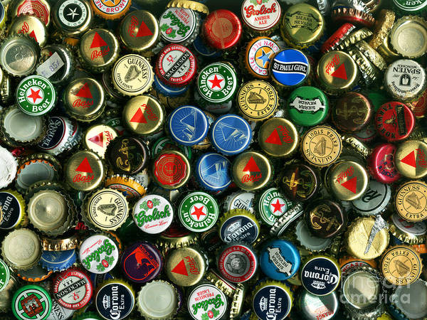 Kitsch Poster featuring the photograph Pile Of Beer Bottle Caps . 9 To 12 Proportion by Wingsdomain Art and Photography