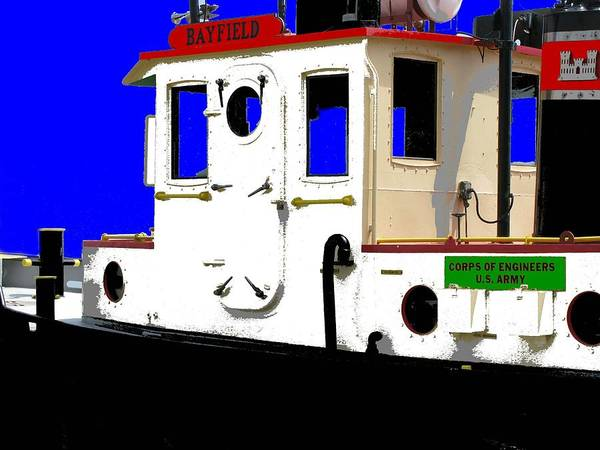 Tug Poster featuring the digital art Retired Tug by Ron LaRue