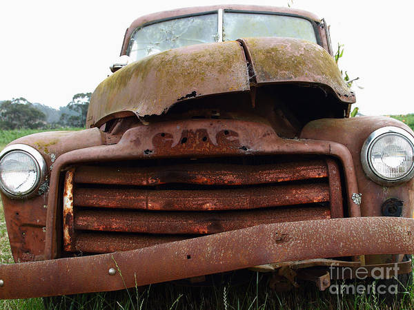 Transportation Poster featuring the photograph Rusty Old Gmc Truck . 7d8396 by Wingsdomain Art and Photography