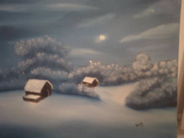 Snowy Night Poster featuring the painting Snowy Night by Thomas Hayes