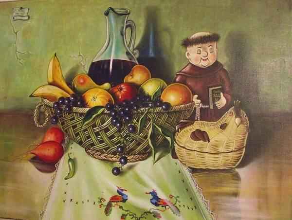 Santana Poster featuring the painting Still Life With Moms Needle Work by Joe Santana