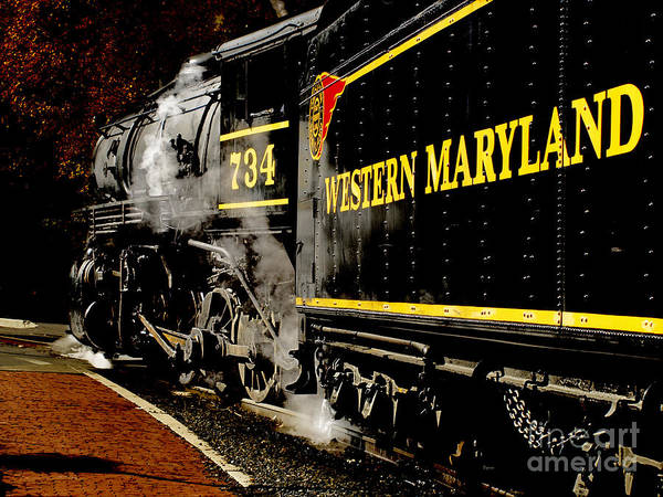 Trains Poster featuring the photograph The 734 by Steven Digman