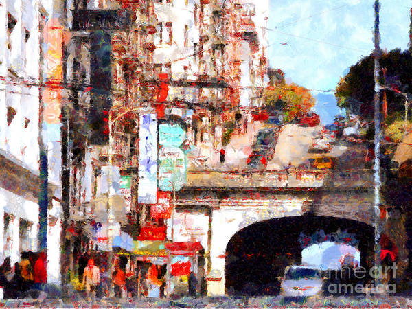 San Francisco Poster featuring the photograph The San Francisco Stockton Street Tunnel . 7d7355 by Wingsdomain Art and Photography