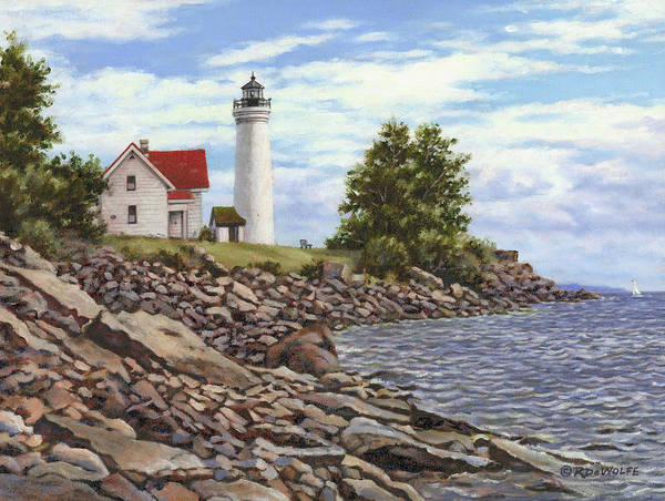 Thousand Islands Poster featuring the painting Tibbetts Point Lighthouse by Richard De Wolfe