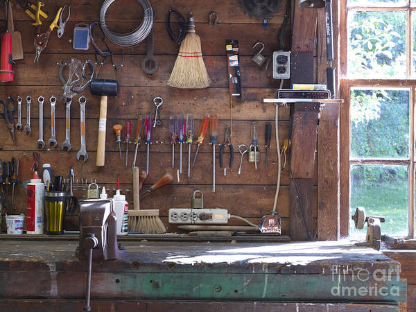 Bags Poster featuring the photograph Work Bench And Tools by Adam Crowley