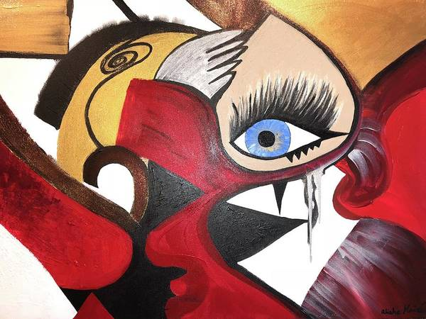 Abstract Poster featuring the painting Motley Eye 2 by Alisha Anglin
