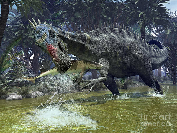 Nature Poster featuring the digital art A Suchomimus Snags A Shark From A Lush by Walter Myers