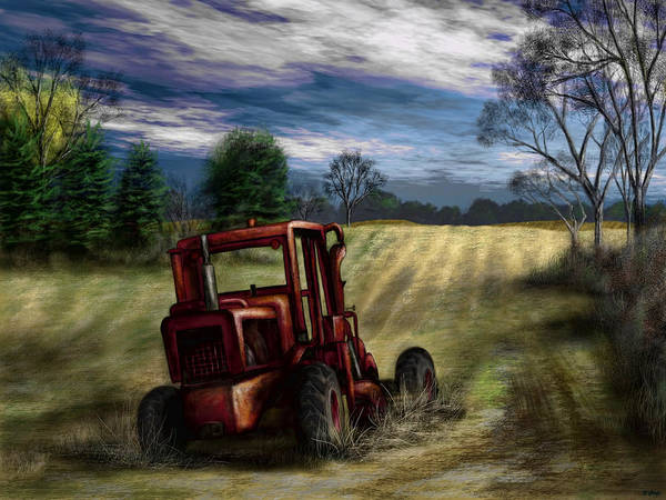 Agriculture Poster featuring the painting Abandoned Tractor by Ron Grafe