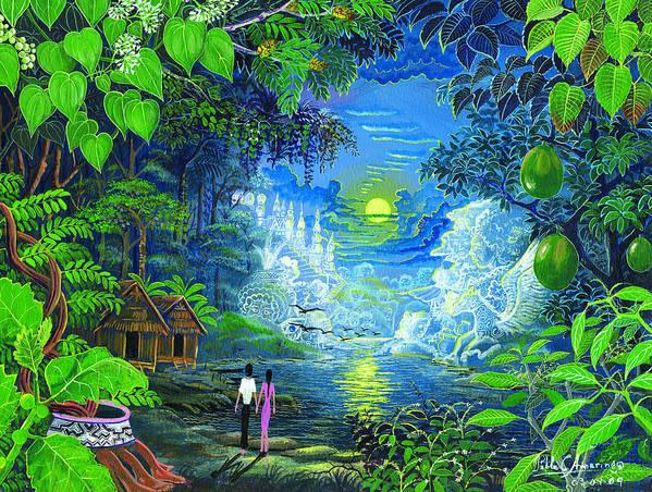 Pablo Amaringo Poster featuring the painting Amazonica Romantica by Pablo Amaringo
