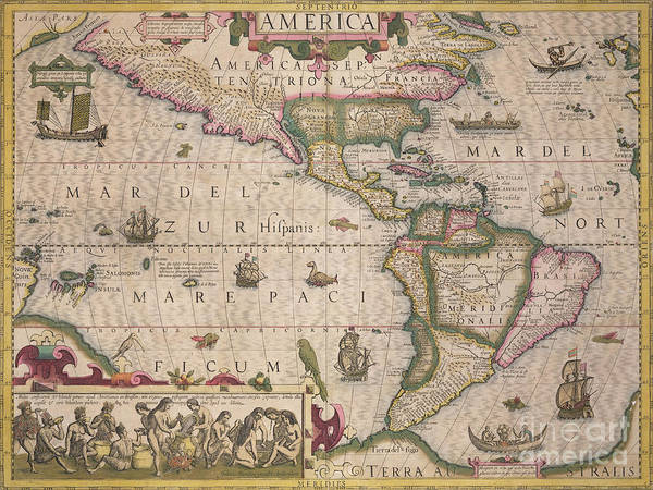 Maps Poster featuring the drawing Antique Map Of America by Jodocus Hondius