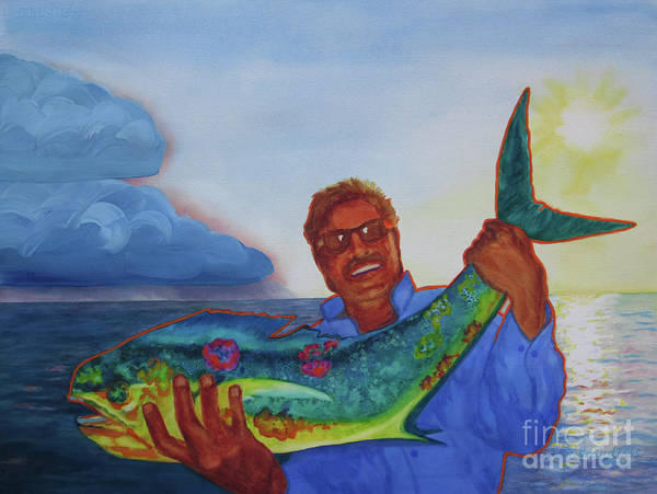 Paintings Poster featuring the painting Ben And The Dolphin Fish by Kathy Braud