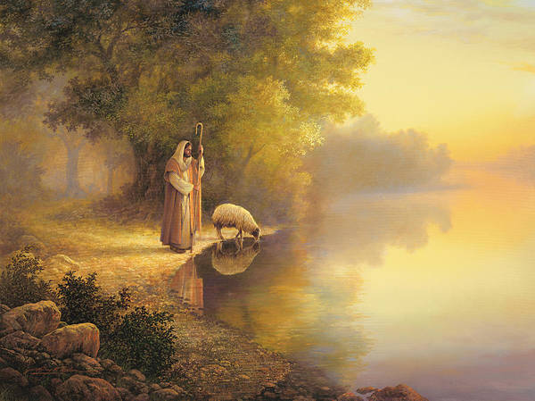 Jesus Poster featuring the painting Beside Still Waters by Greg Olsen