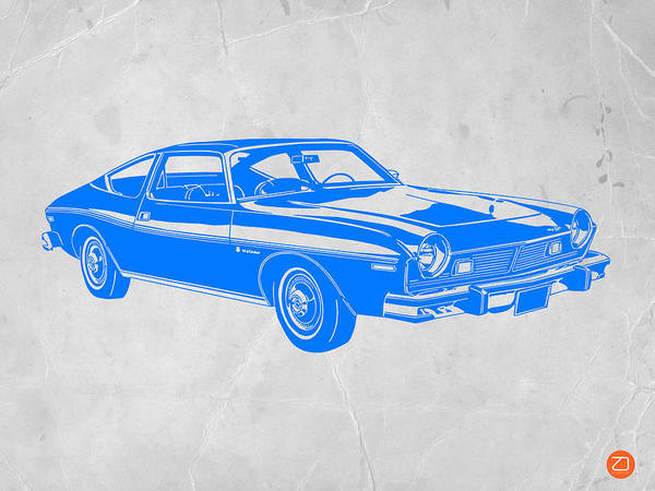 Poster featuring the drawing Blue Muscle Car by Naxart Studio