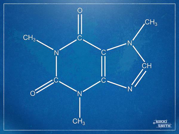 Caffeine Poster featuring the digital art Caffeine Molecular Structure Blueprint by Nikki Marie Smith