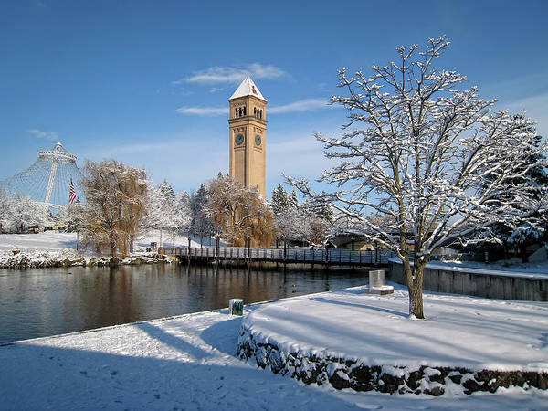riverfront Park Poster featuring the photograph Fresh Snow In Riverfront Park - Spokane Washington by Daniel Hagerman