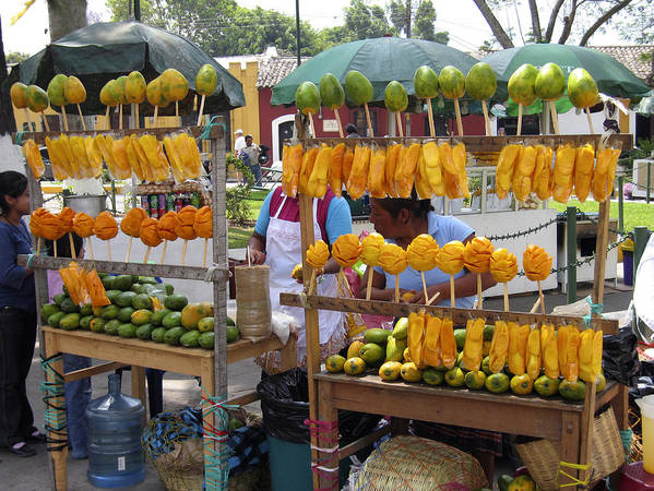 Antigua Poster featuring the photograph Fruit Stand Antigua Guatemala by Kurt Van Wagner