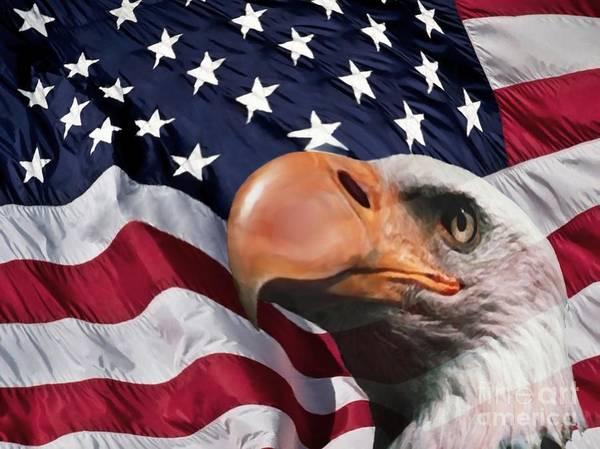 Eagle Digital Art Poster featuring the digital art Funny Flag by Steve K