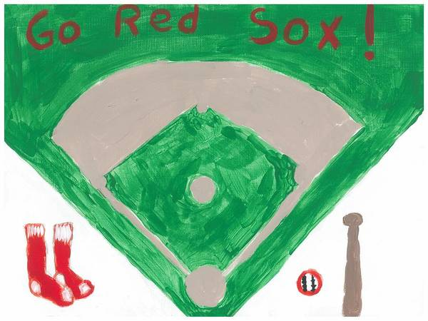 Baseball Poster featuring the painting Go Red Sox by Rosemary Mazzulla