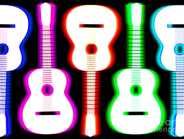 Acoustic Guitar Poster featuring the drawing Guitars On Fire 5 by Andy Smy