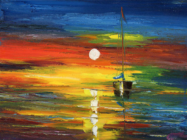 Oil Painting Art Artwork Acrylic Impressionist Impressionism Palette Knife Texture Giclee Print Reproduction Color Colour Colorful Bright Morning Evening Sail Sailing Two Boats Warm Passion Water Aqua Marina Nautical Love Relaxation Passion Racing Searching Nature Fish Fishing Surviving Violet Blue Yellow Green Pintura Impressionista Pescar Botes Agua Azula Amarilla Verde Passion Amor Navegacion Vela Buscando Paz Sobrevivir Color Colour Colourful Poster featuring the painting Horizon Sail by Ash Hussein