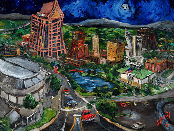 Huntsville Poster featuring the painting Huntsville Skyline by Carole Foret
