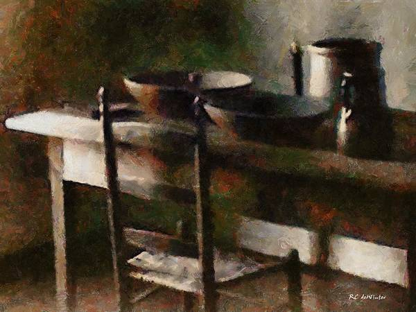 Kitchen Poster featuring the painting In The Shaker Kitchen by RC DeWinter
