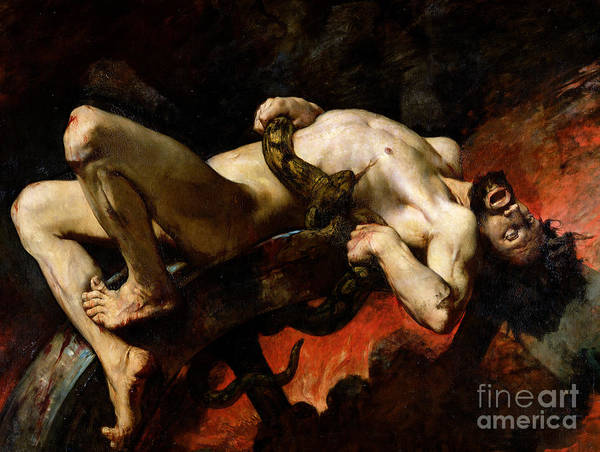 Man Poster featuring the painting Ixion Thrown Into Hades by Jules Elie Delaunay
