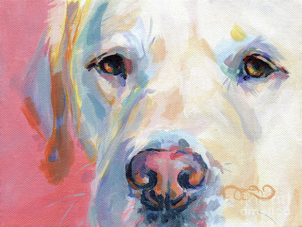 Yellow Lab Poster featuring the painting Martha's Pink Nose by Kimberly Santini