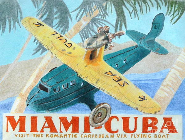 Color Pencil Poster featuring the drawing Miami-cuba by Glenda Zuckerman