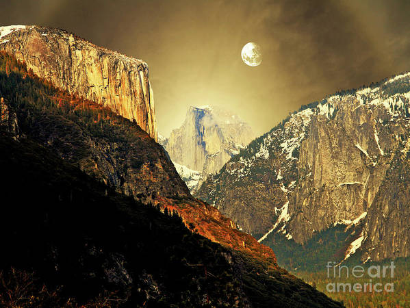 Landscape Poster featuring the photograph Moon Over Half Dome by Wingsdomain Art and Photography