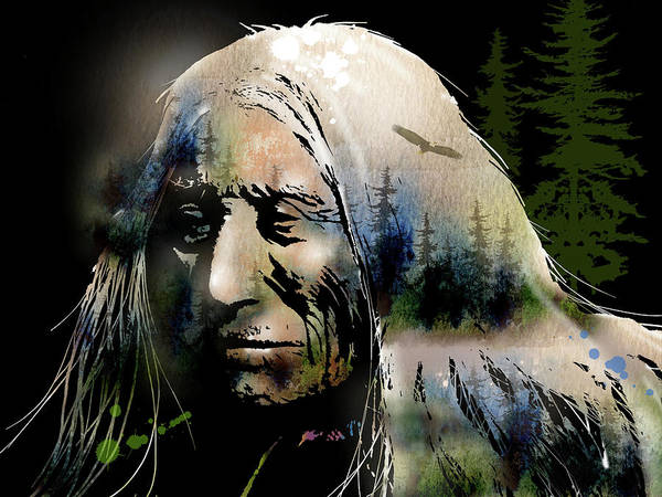 Native Americans Poster featuring the painting Old Man Of The Woods by Paul Sachtleben