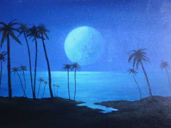 Beach Painting Poster featuring the painting Peaceful Moonlit Night by Michael Odom