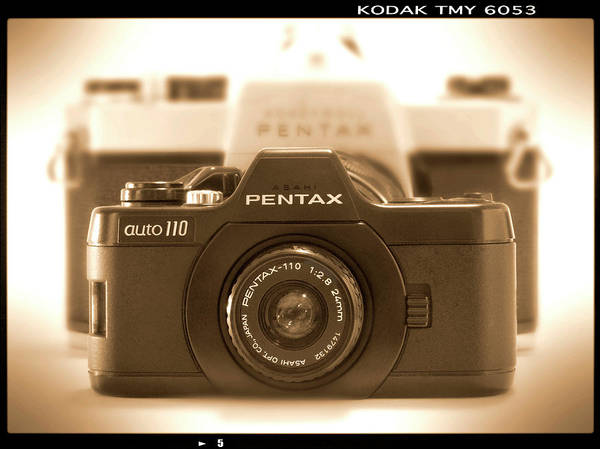 Vintage Pentax Poster featuring the photograph Pentax 110 Auto by Mike McGlothlen