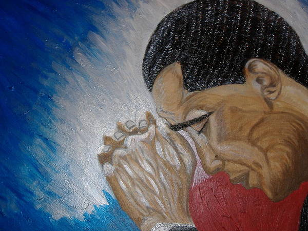 Portraits Poster featuring the painting Pray For Peace by Keenya Woods
