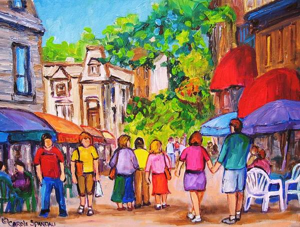 Rue Prince Arthur Montreal Street Scenes Poster featuring the painting Prince Arthur Street Montreal by Carole Spandau