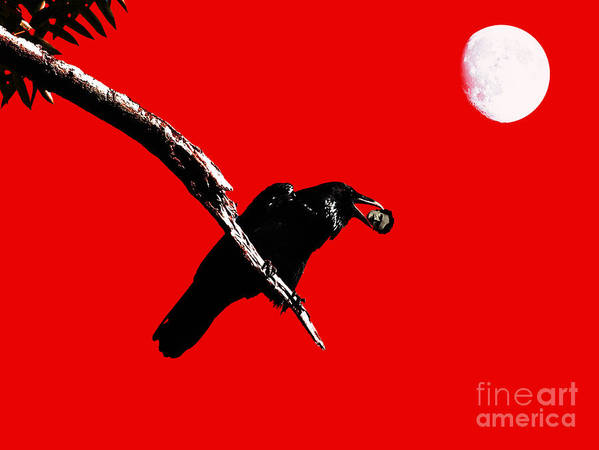 Goth Poster featuring the photograph Quoth The Raven Nevermore . Red by Wingsdomain Art and Photography
