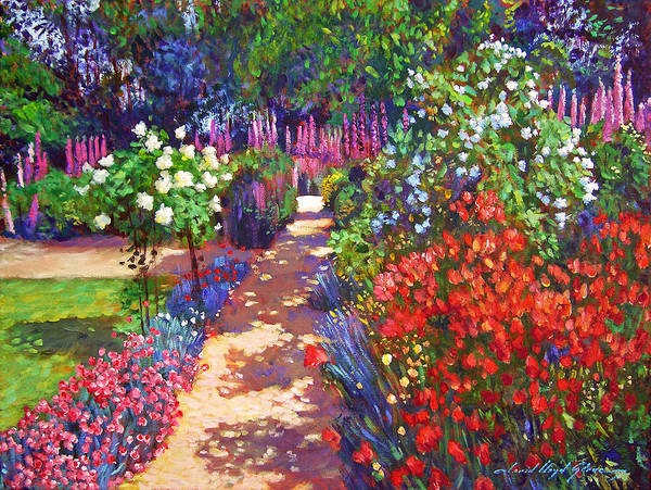 Impressionism Poster featuring the painting Romantic Garden Walk by David Lloyd Glover