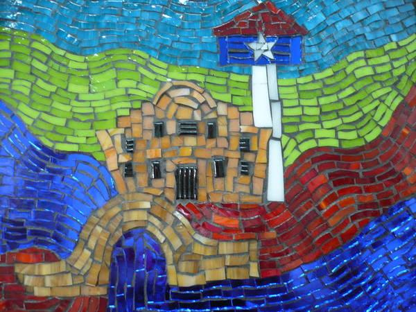 Riverwalk Poster featuring the glass art San Antonio by Ann Salas