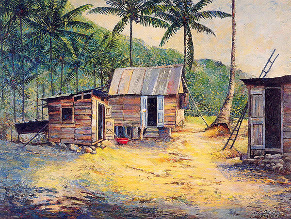 Caribbean Life Poster featuring the painting Squatters by Glenford John